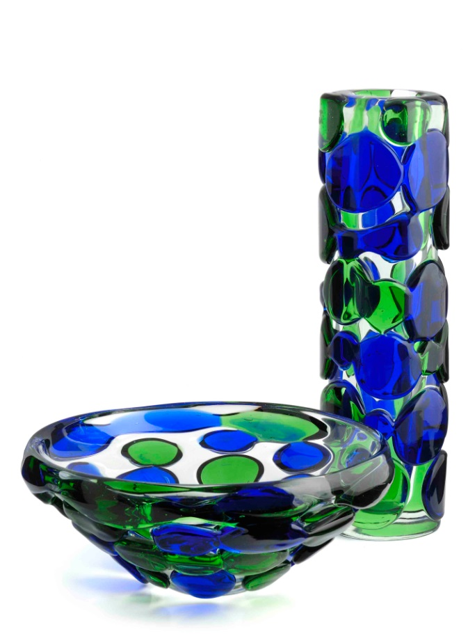 A bowl and a vase with blue and green applied prunts, designed by Jaroslav Svoboda in 1972, vase pattern number 7233/38, 15in (38cm) high, bowl pattern number 7233/26, 10.25in (26cm) diam..