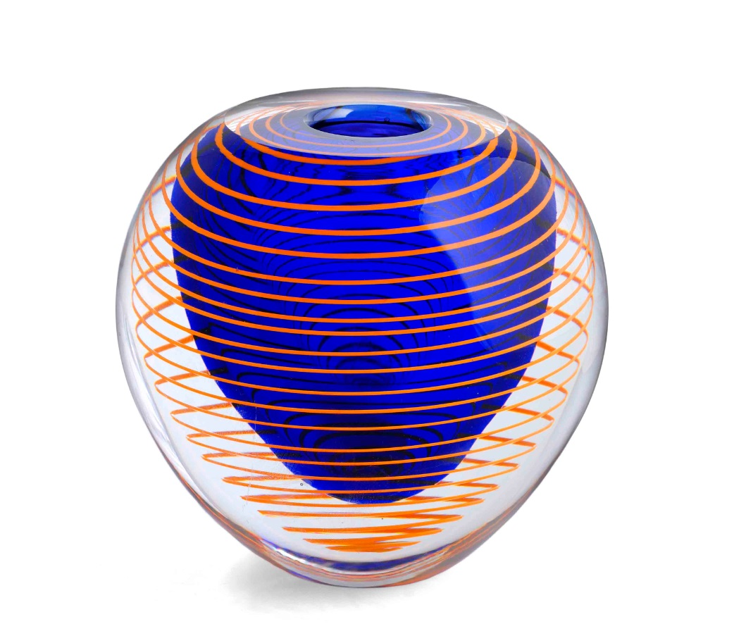 A 1990s ovoid cased vase, designed by Stanislav Libenský in 1977, pattern number 7713, 6in (15cm) high.